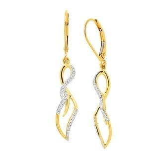1/8 ct Diamond Twist Drop Earrings in 10K Gold