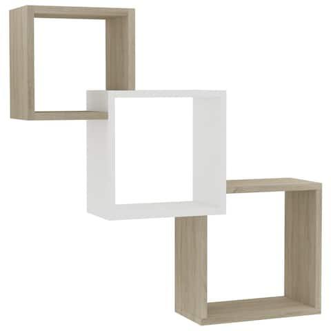 "vidaXL Cube Wall Shelves White & Sonoma Oak 33.3""x5.9""x10.6"" Chipboard"