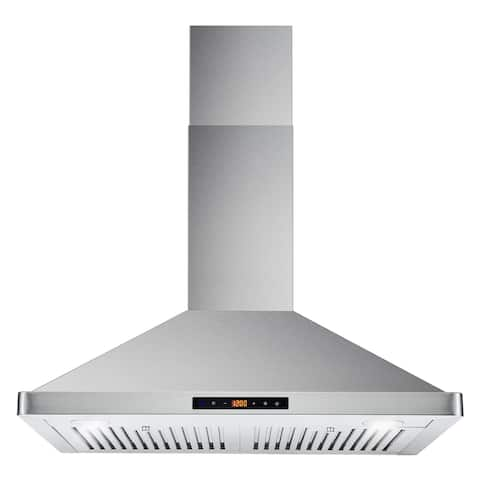 30 in. Ducted Wall Mount Range Hood in Stainless Steel with Soft Touch Controls, Permanent Filters and LED Lights