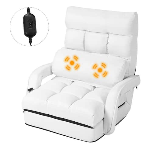 Gymax White Folding Lazy Sofa Floor Chair Sofa Lounger Bed with