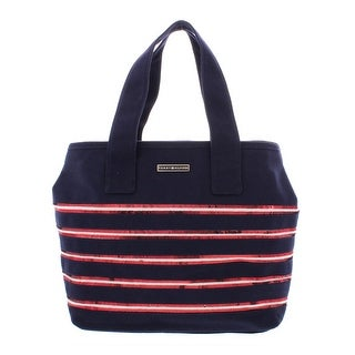 Tommy Hilfiger Womens Tote Handbag Canvas Sequined - Large