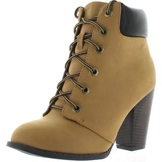 Top Moda Demo 5 Womens Chunky Heel Ankle Booties Black - Camel
