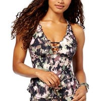 6cd72cd948a85 Lucky Brand Womens Swimsuit Smoke Screen Ruffled Tankini Top Small Multi