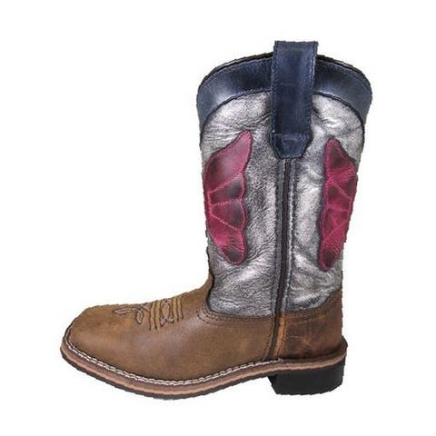 Smoky Mountain Western Boots Boys Riley Leather Square Toe Brown