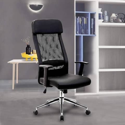Adjustable Swivel Office Chair with Delux Padded headrest and Ventilated Mesh