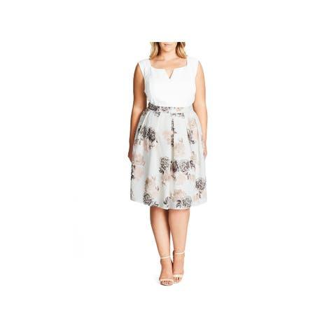 City Chic Womens Plus A-Line Skirt Floral Print Knee-Length