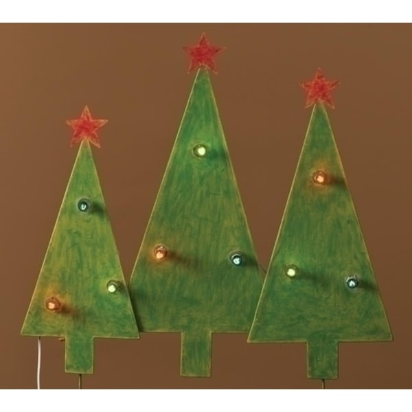 Christmas Tree Trio Outdoor Lighted Outdoor Decoration 2.5' - green