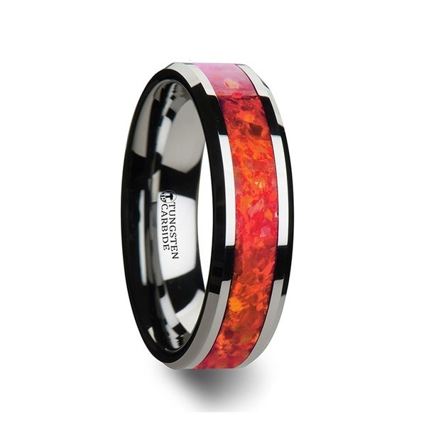 THORSTEN - NEBULA Tungsten Wedding Band with Beveled Edges and Red Opal Inlay - 6mm