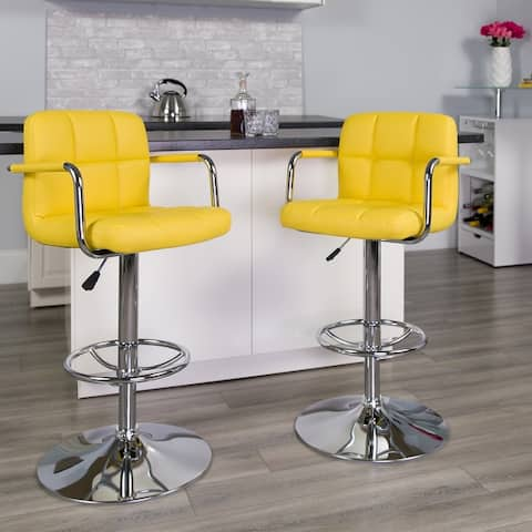 Porch & Den Ambassador Upholstered Armrest Swivel Bar Stool