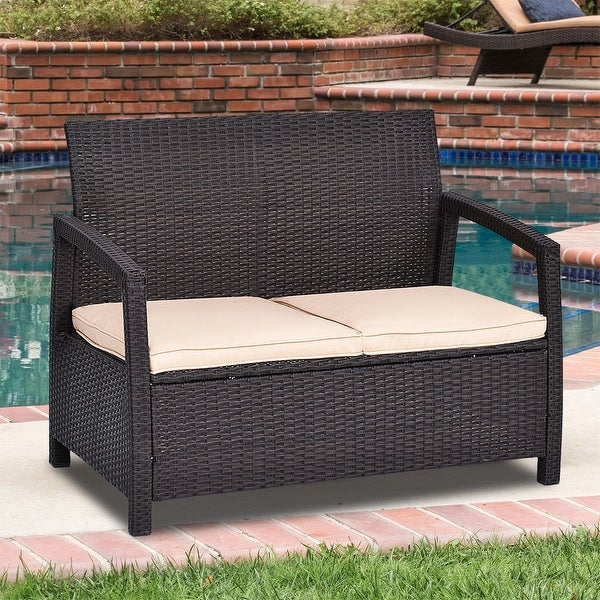 Shop Costway Outdoor Rattan Loveseat Bench Couch Chair With Cushions