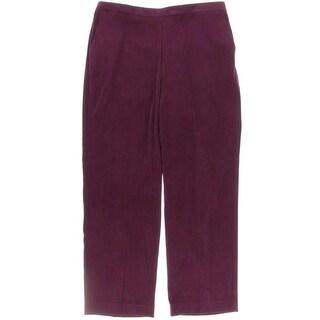 Alfred Dunner Womens Elastic Waist Flat Front Pants