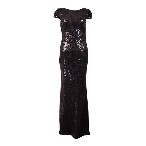 Calvin Klein Women X27 S Cowl Back Cap Sleeves Sequined Gown Black
