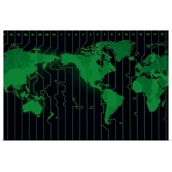 """""""World map displaying time zones"""" Poster Print"""