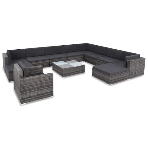 vidaXL 12 Piece Garden Lounge Set with Cushions Poly Rattan Gray