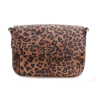 Salvatore Ferragamo Cheetah Pattern Ginny Leather Clutch Handbag - Orange - S
