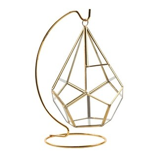 Circleware Hanging Glass Terrarium with Stand - Gold Geometric Tear Drop Shaped Holder for Succulents and Air Plants