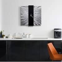 "Statements2000 24-inch Metal Wall Clock Art Modern Black Silver Decor by Jon Allen - Elegant Mechanism - 24"" x 24"""
