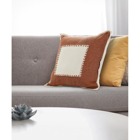 Adobe Brown Riviera Framed Throw Pillow