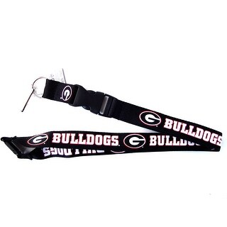 NCAA Georgia Bulldogs Clip Lanyard Keychain Id Ticket Holder Black