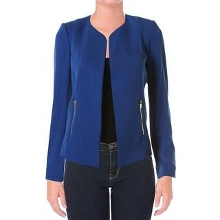 Calvin Klein Womens Petites Side Slits Long Sleeves Open-Front Blazer
