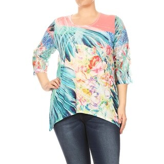 Women Abstract Mix Color Plus Size T Shirts Tops Multi SE17016-3