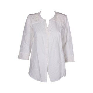 Jm Collection Bright White 3/4-Sleeve Lace-Trim Linen Blend Blouse 8
