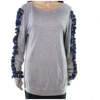 Halogen Blue Plaid Ruffled Women's Large Scoop Neck Sweater