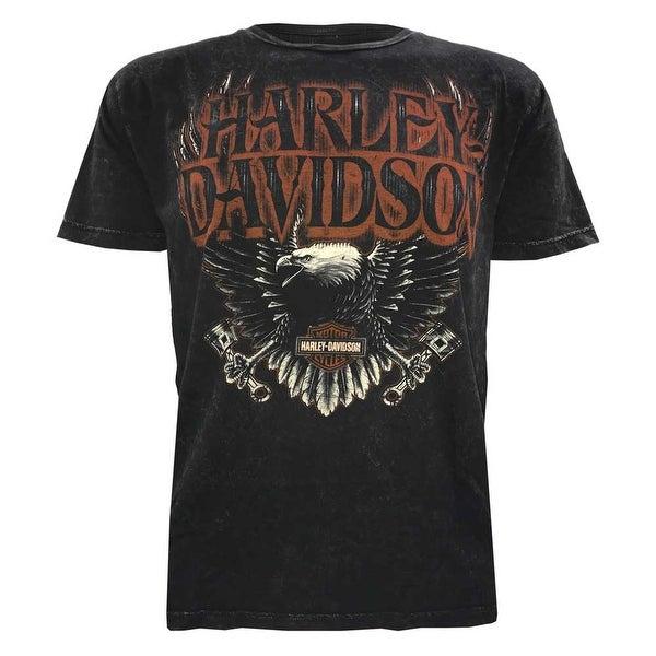 Harley-Davidson Men's Muted Eagle Premium Short Sleeve T-Shirt, Black Wash