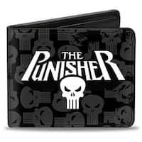 Marvel Universe The Punisher Logo Weathered Logos Black Gray White Bi Fold Bi-Fold Wallet - One Size Fits most