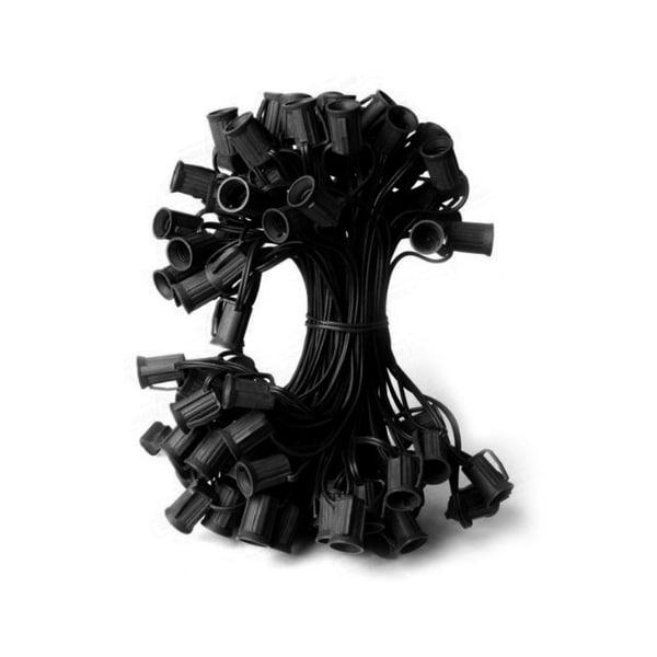 "50' Commercial C7 Christmas Light Socket Set - 12"" Spacing 18 Gauge Black Wire"