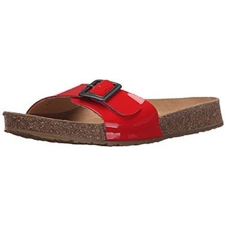 Haflinger Womens Gina Patent Leather Buckled Slide Sandals - 36 medium (b,m)