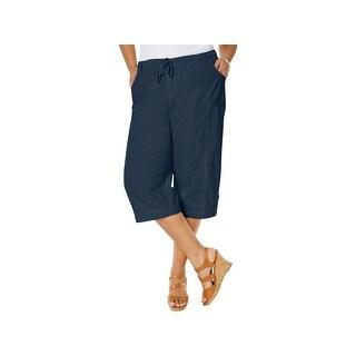 Karen Scott Womens Plus Capri Pants Comfort Waist Flat Front