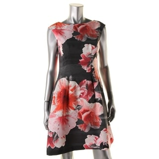 Vince Camuto Womens Textured Floral Print Cocktail Dress