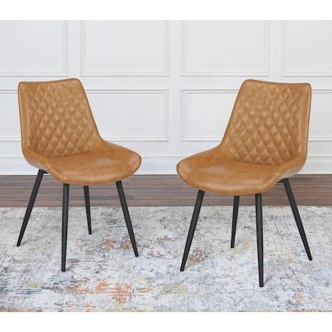 Abbyson Georgina Mid Century Diamond Stitch Dining Chair, Set of 2