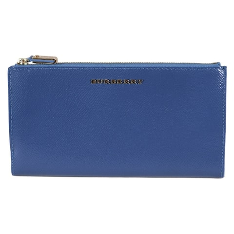 """Burberry Blue Patent Leather CONSTANTINE Continental Wallet W/Zip - 7.5"""" x 4"""""""