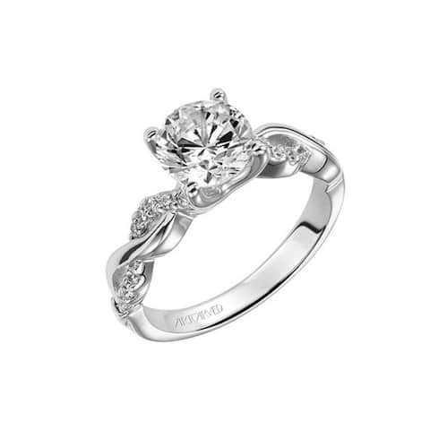 SELENE Platinum 0.50 CT Diamond Infinity Diamond Engagement Ring Twisted Studded Band by Artcarved Rings