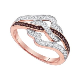 10k Pink Rose Gold Red Colored Natural Diamond Womens Unique Cocktail Heart Band Ring 1/4 Cttw - White