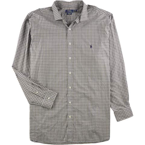 Ralph Lauren Mens Poplin Button Up Shirt, Brown, Big 2X
