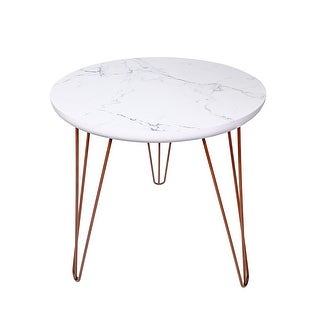 Link to Kara 18-inch Round Faux-Marble End Table with Hairpin Iron Legs Similar Items in Living Room Furniture