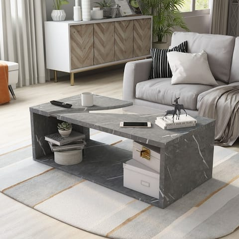 Furniture of America Kobe Modern Marble Open Coffee Table