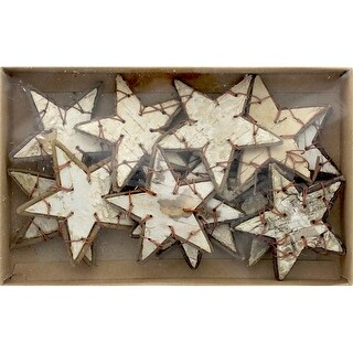 "SPC Wood Bark Stars 2.75"" Brown/White 12pc"