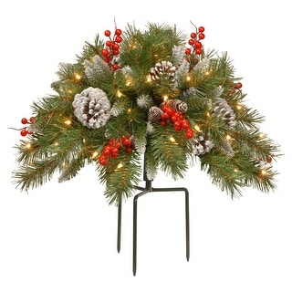 """18"""" Pre-Lit Frosted Berry Urn Filler Christmas Garden Stakes - Warm LED Lights"""