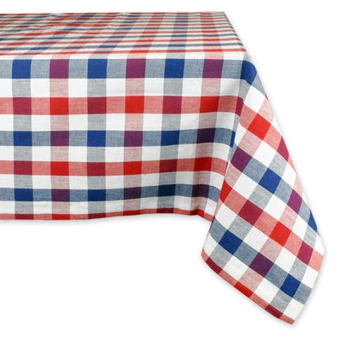 """70"""" Red & Blue Check Patterned Round Tablecloth"""