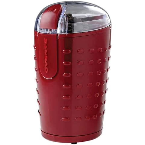 Ovente Electric Small Coffee Grinder 2.5 Ounce Storage, Maroon CG225M