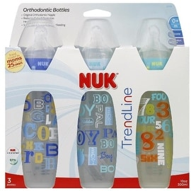 NUK TrendLine Orthodontic Bottles Silicone, Medium Flow (colors may vary) 3 ea