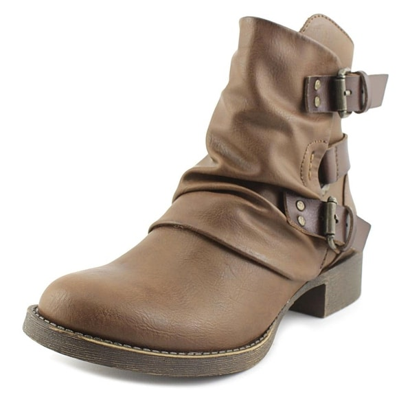 Blowfish Korrekt Women Round Toe Leather Brown Bootie
