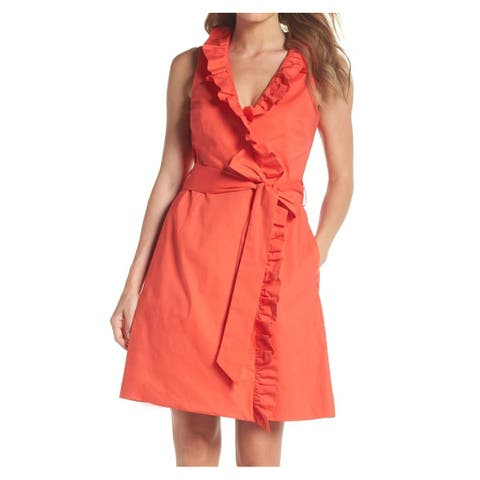 Eliza J Womens Dress Coral Wrap Ruffle-Trim Tie-Waist