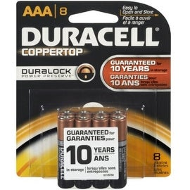 Duracell Coppertop AAA Alkaline Batteries 1.5 Volt 8 Each