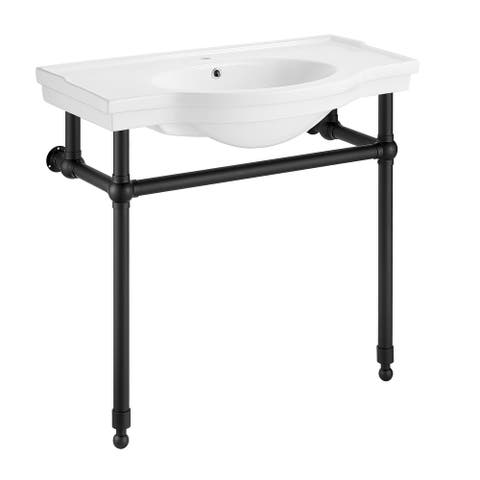 ANZZI Viola 34.5 in. Console Sink with Ceramic Counter Top
