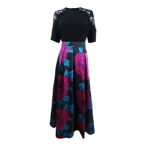 SL Fashions Women's Lace-Shoulder Crepe & Floral-Print Gown - Black Multi